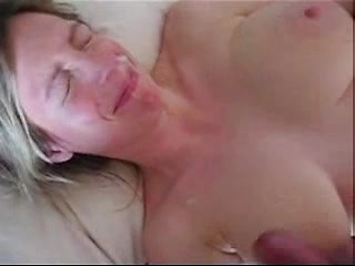 Busty amateur wife teasing big cock with huge...